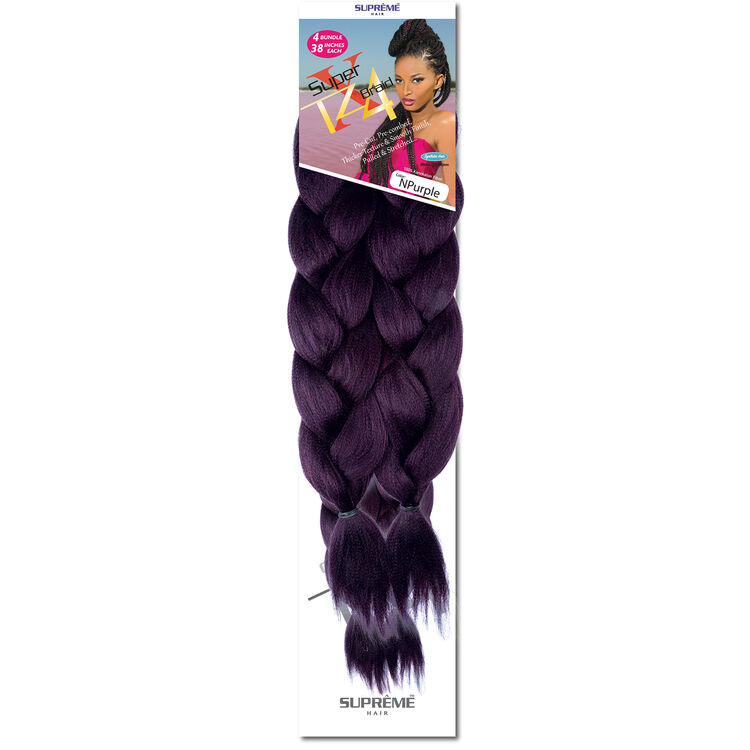 Super X Teased 4 Bundle Pack Braiding Hair Solid Purple