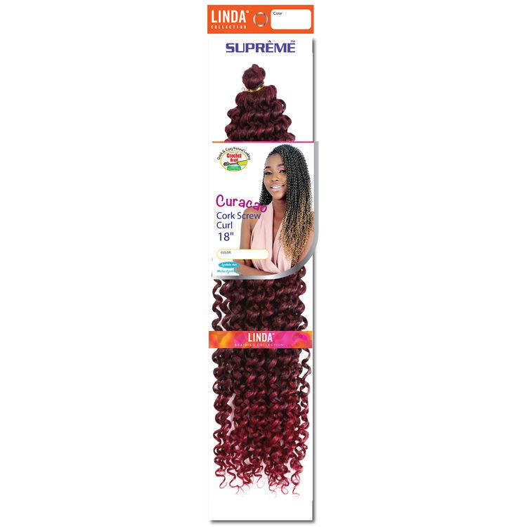 Ombre Black/Burgundy Curacao Cork Screw Curl 18 Inch Crochet Hair