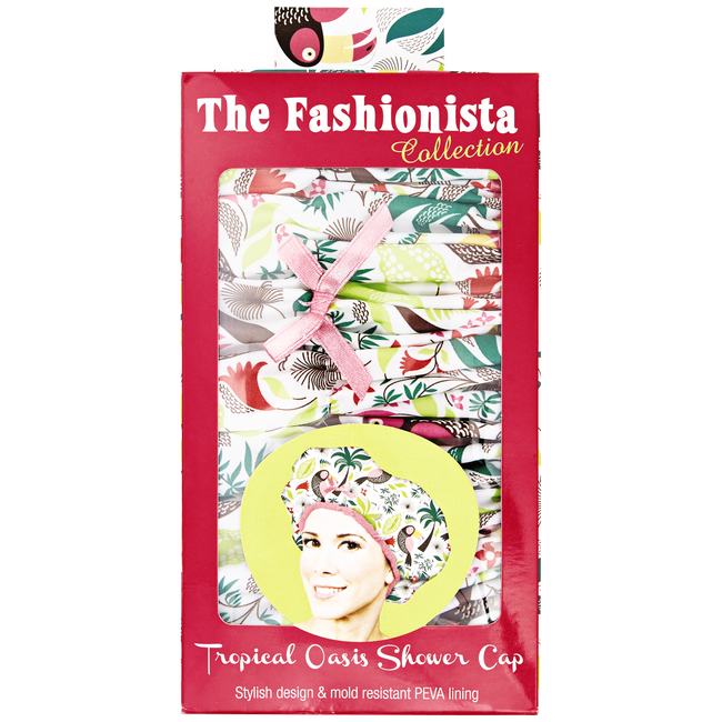 Tropical Print Shower Cap