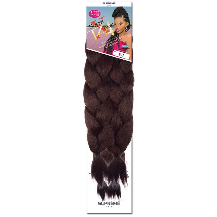 Super X Teased 4 Bundle Pack Braiding Hair 20 Burgundy/80 Black