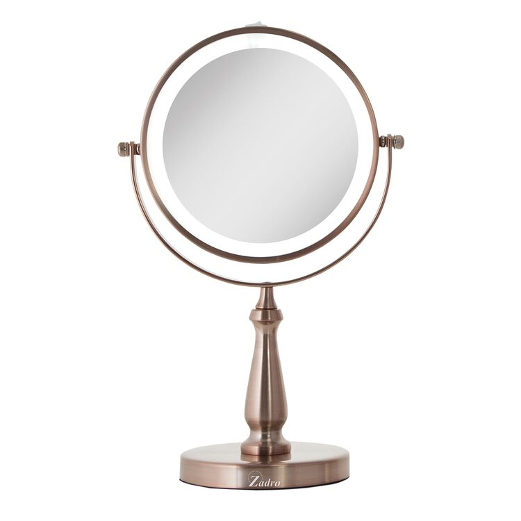 8X/1X Magnification Next Generation LED Lighted Dual-Sided Vanity Makeup Mirror, Rose Gold