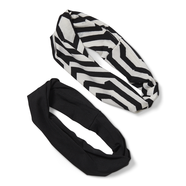Black & White Geometric Headwrap Duo
