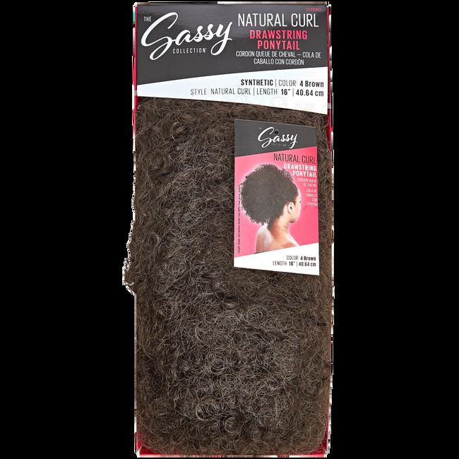 Natural Curl Brown 16 Inch Drawstring Ponytail