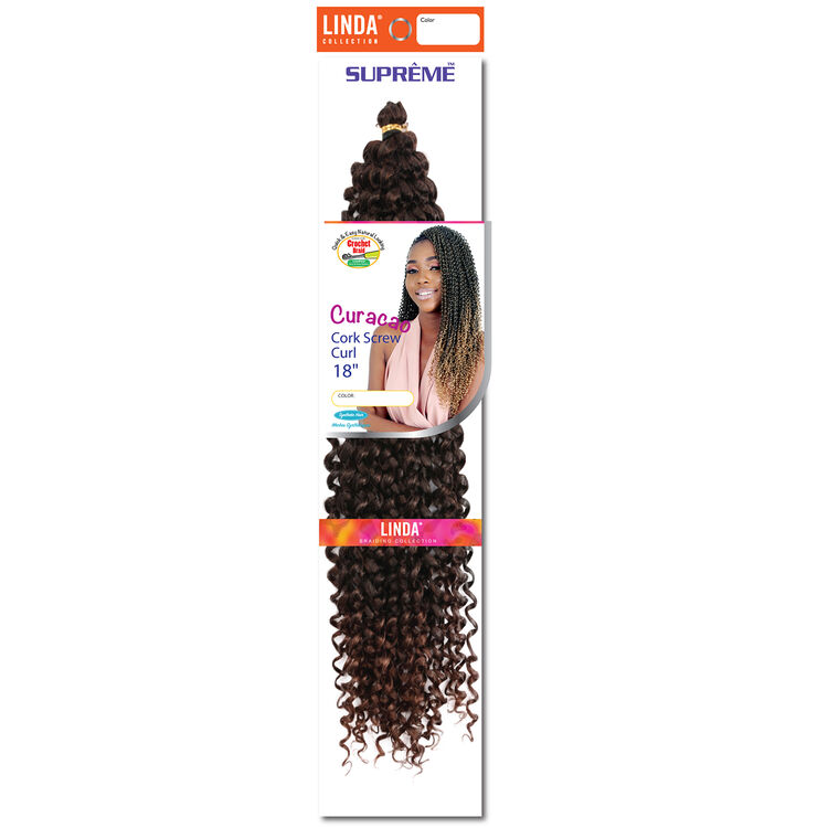 Ombre Black/Med.Auburn Curacao Cork Screw Curl 18 Inch Crochet Hair