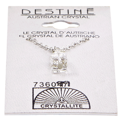 Destine Austrian Crystal Cube with Rhinestone Necklace