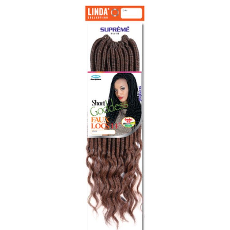 Short Goddess Faux Locs 14 Inch Crochet Hair Ombre Black/Med.Auburn