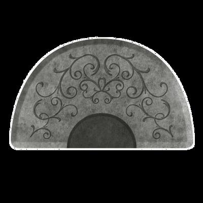 Bella Silver Leaf 3' X 5' Round Mat with Chair Depression