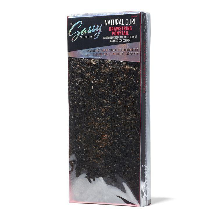 Natural Curl Off Black Auburn 16 Inch Drawstring Ponytail