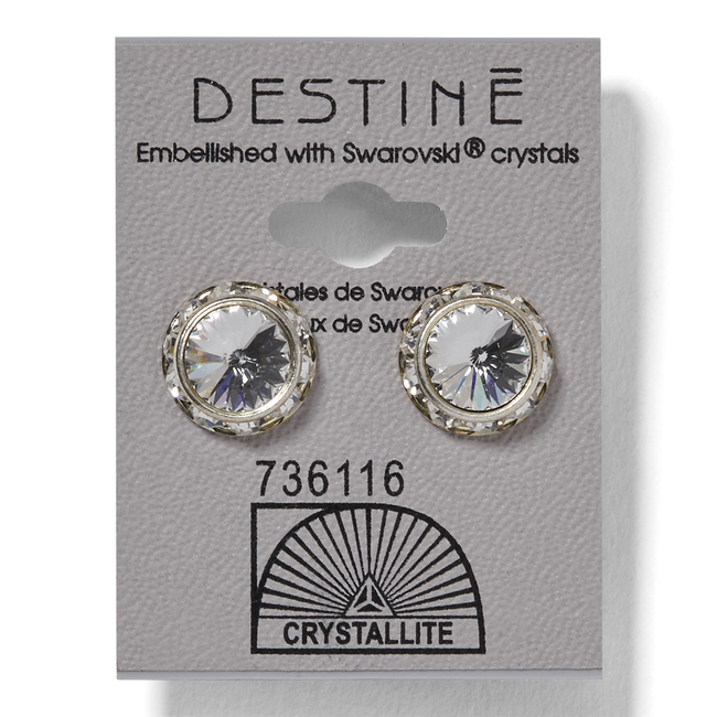 Destine Crystal Rhinestone Rivoli Earrings 12mm