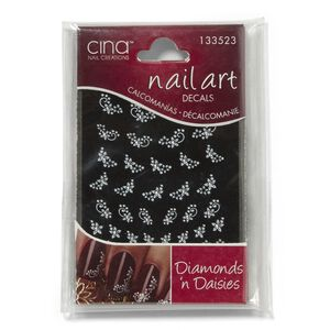 Cina Nail Creations Diamonds and Daisies Rhinestones Nail Art Jewelry Decals