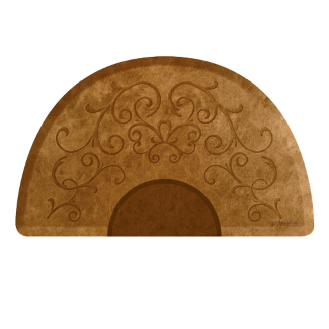 Bella Copper Leaf 3' X 5' Round Mat with Chair Depression