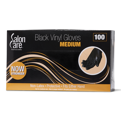 100 Count Black Vinyl Gloves-Medium