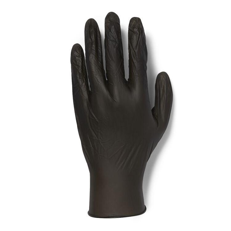 100 Count Black Vinyl Gloves-Extra Large