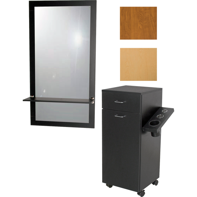 Salinas Wall Mounted Mirror & Ledge with Portable Styling Station Black