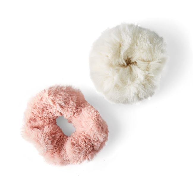 Pink & White Furry Hair Elastics