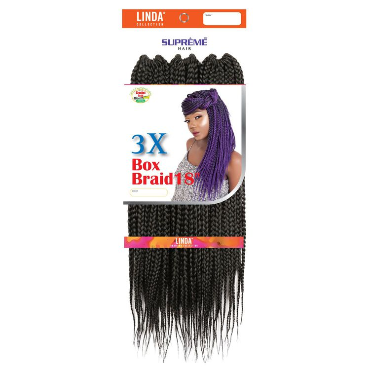 3X Box Braids 18 Inch Crochet Hair Jet Black