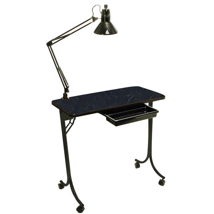 Portable Nail Table Black Marble