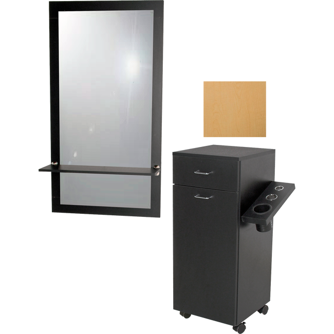 Salinas Wall Mounted Mirror & Ledge with Portable Styling Station Fusion Maple