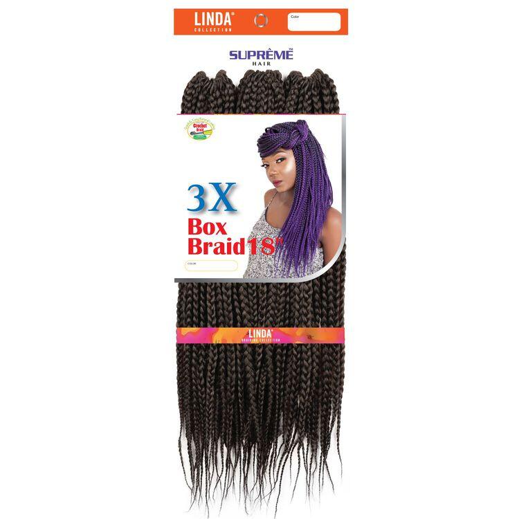 3X Box Braids 18 Inch Crochet Hair Medium Brown