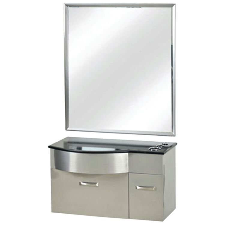 Stainless Steel Styling Station with Stone Countertop