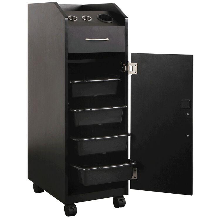 Keystone Black Lockable Wood Trolley