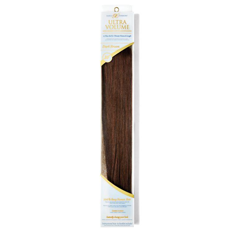 "20"" Ultra-Seamless Clip-In Hair Extensions Dark Brown"