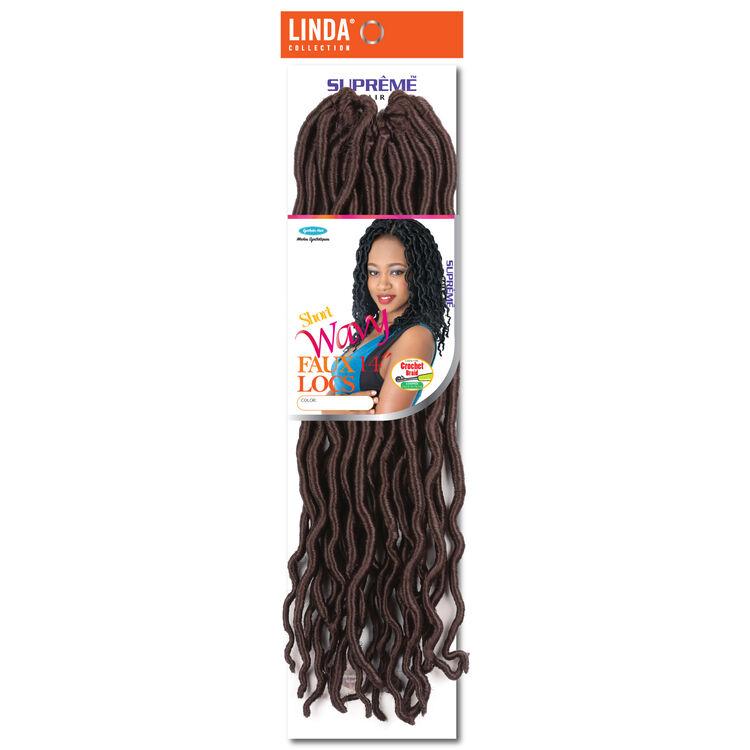Goddess Wavy Faux Locs 14 Inch Crochet Hair Dark Auburn
