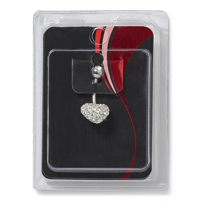 Fireball Crystal Heart Navel Dangle