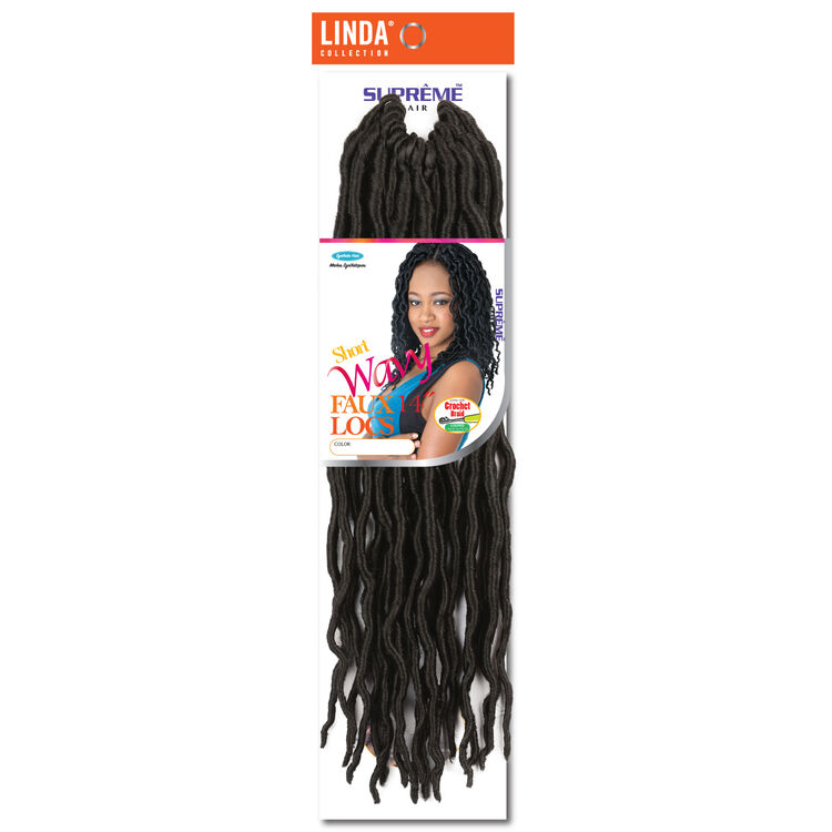 Goddess Wavy Faux Locs 14 Inch Crochet Hair Darkest Brown