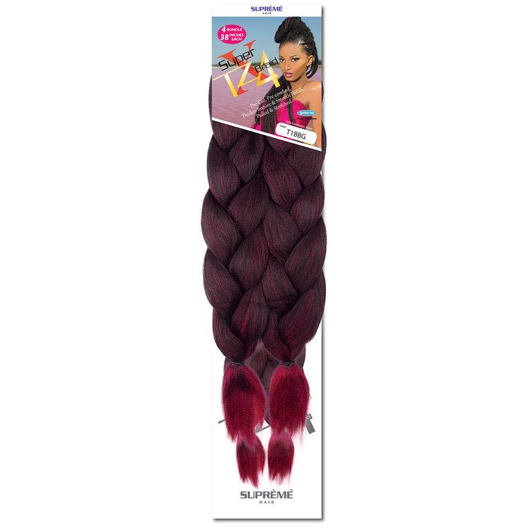 Super X Teased 4 Bundle Pack Braiding Hair Ombre Black/Burgundy