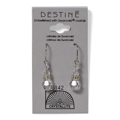 Clear Round Rondelle Dangle Earrings