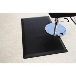 "Rhino Mats Vegas Heel-Proof 3' x 5' x 1"" Rectangle with Round Base Salon Mat-Black"