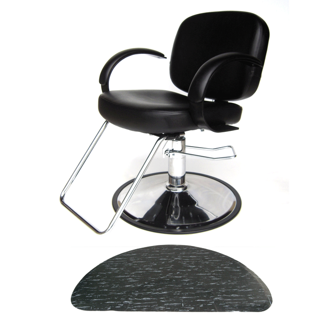 Layla Styling Chair with Black Marbleized Half-Circle Mat