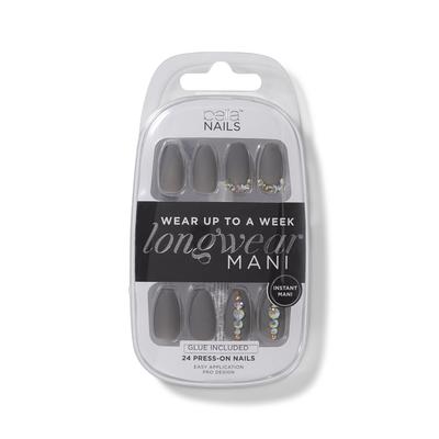 Gray 3D Longwear Mani Press On Nails