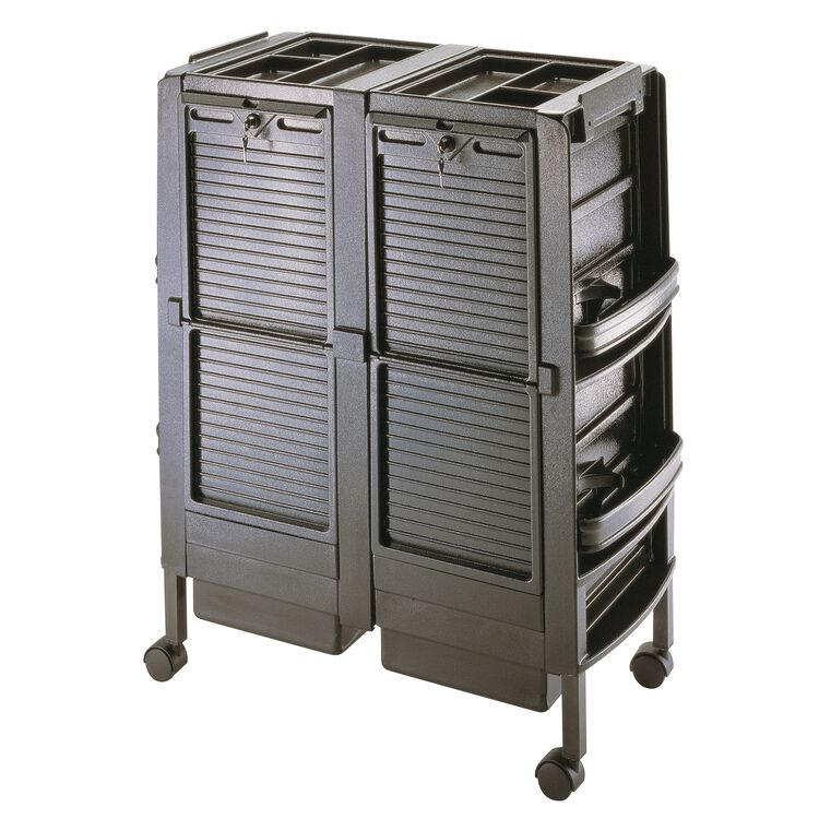 Double Crystal Black Salon Trolley