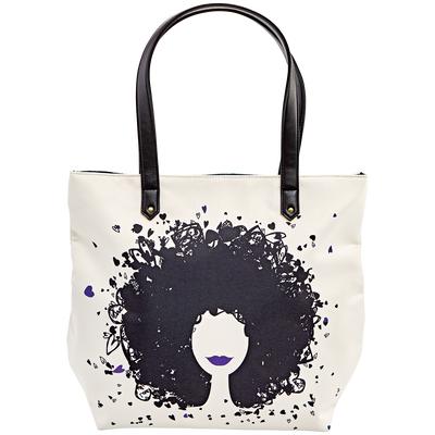 Hearts & Curls Tote Bag Purple