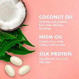 Coconut Oil hydrates and protects hair while reducing breakage. Neem Oil controls frizz while adding brilliant shine. Silk Protein smooths hair for a soft, silky feel.
