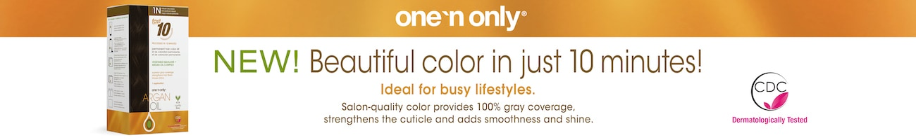 one'n only. New! Beautiful color in just 10 minutes. Ideal for busy lifestyles. Salon-quality color provides 100% gray coverage, strengthens the cuticle, and adds smoothness and shine.