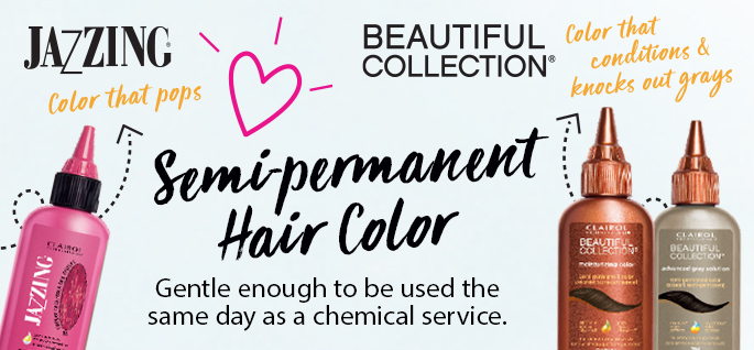 Jazzing. Color that pops. Semi-permanent hair color. Gentle enough to be used the same day as a chemical service.