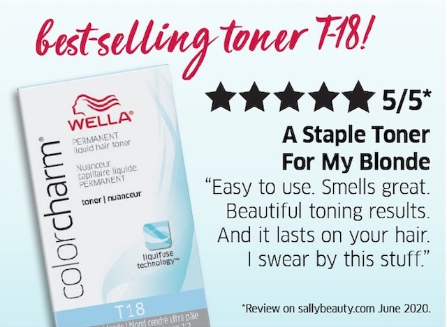 Best-selling toner t-18. Easy to use. Smells great. Beautiful toning results. And it lasts on your hair.