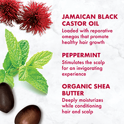 Jamaican Black Castor Oil is loaded with reparative omegas that promote healthy hair growth. Peppermint stiumlates the scap for an invigorating experience. Organic Shea Butter deepl moisturizes while conditioning hair and scalp.