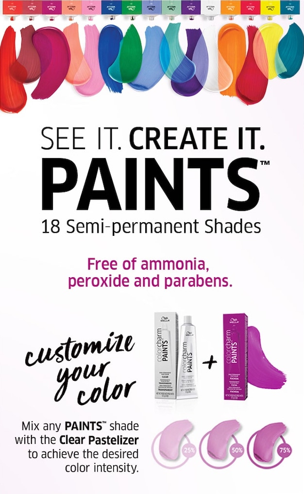 See it, create it. Paints. 18 semi-permanent shaes. Free of ammonia, peroxide, and parabens. Customize your color. Mix any Paints shade with the Clear Pastelizer to achieve the desired color intensity.