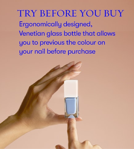 Trey before you buy. Ergonomically designed, venetian glass bottle that allows you to preiew the colour on your nail before purchase.