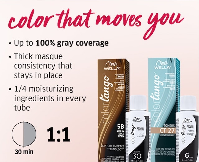 Color that moves you. Up to 100% gray coverage. Thick masque consistency that stays in place. 1/4 moisturing ingredients in every tube. 30min 1:1