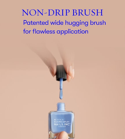 Non-drip brush. Patented wide hugging brush for flawless application.