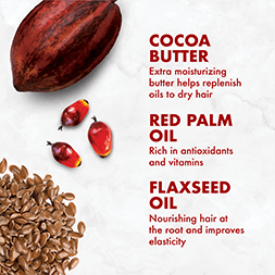Cocoa Butter's extra moisture helps replinish oils to dry hair. Red Palm Oil is rich in antioxidants and vitamins. Flaxseed Oil nourishes hair at the root and improves elasticity.