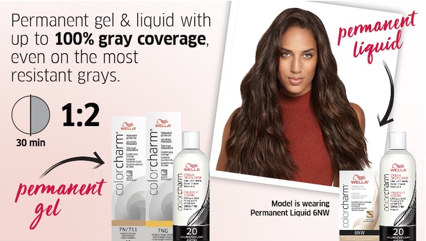 Permanent gel & liquid with up to 100% gray coverage, even on the most resistant grays. 30 min 1:2