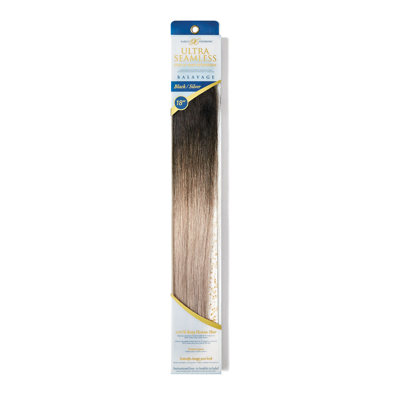 """18"""" Ultra-Seamless Clip-in Hair Extensions Balayage Black/Silver"""
