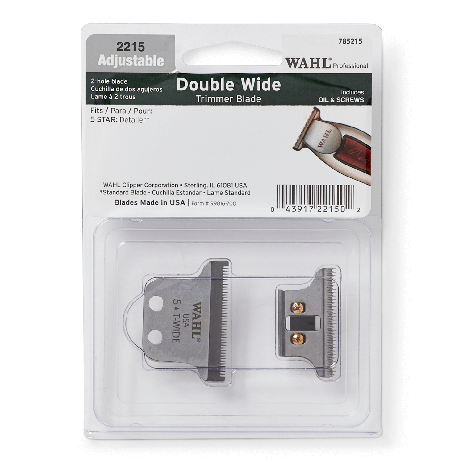 Detailer Double Wide Trimmer T Blade By Wahl Hair Clipper