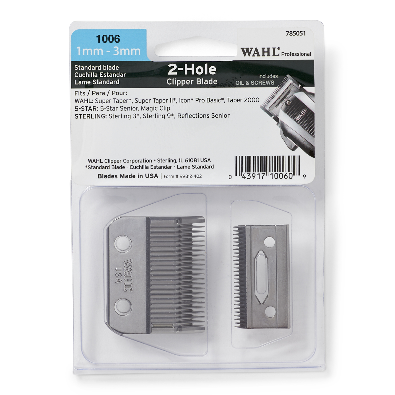 2 hole clipper blade set 1mm 3mm by wahl hair clipper accessories sally beauty. Black Bedroom Furniture Sets. Home Design Ideas